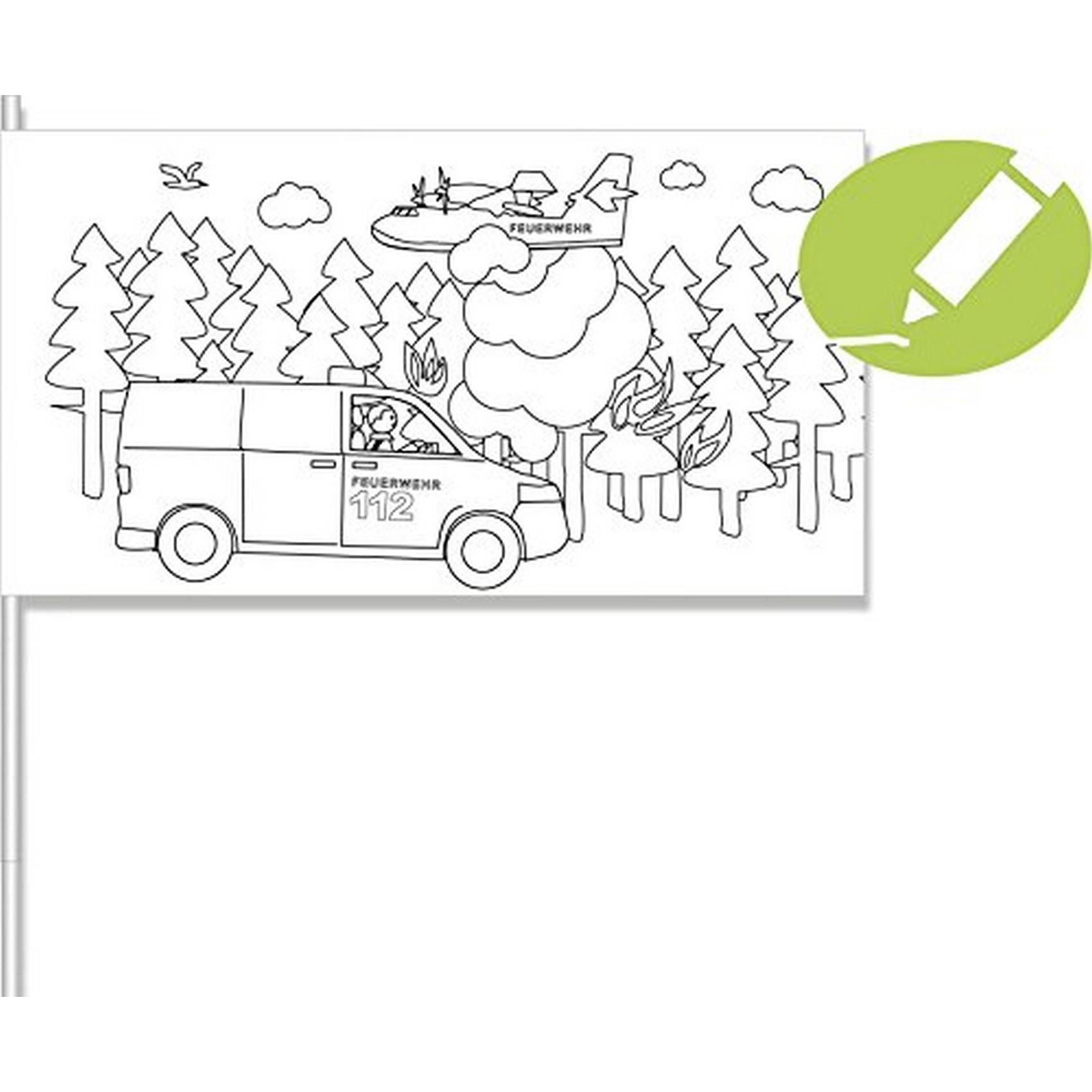 DH 502051 - Geburtstag & Party - Feuerwehr Fahne zum Ausmalen, 8 Stk ...