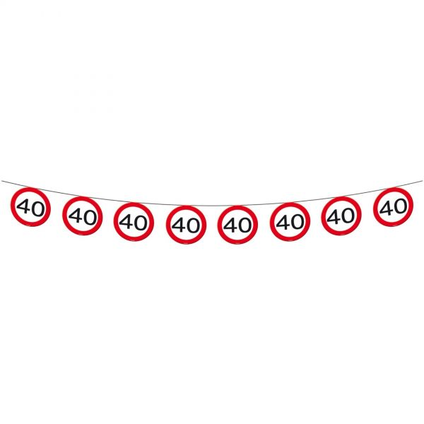 FOLAT 05181 - Geburtstag & Party - 40 Jahre Verkehrsschild Wimpel-Kette, 12 m
