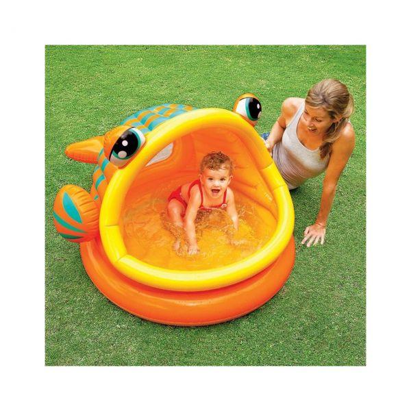 INTEX 57109 - Planschbecken - Babypool Lazy Fish Shade, mit Dach, 124 x 109 cm