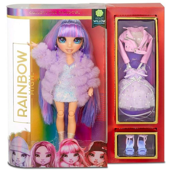 MGA 569602E7C - RAINBOW HIGH - Violet Willow – Violette Mode-Puppe mit 2 Outfits