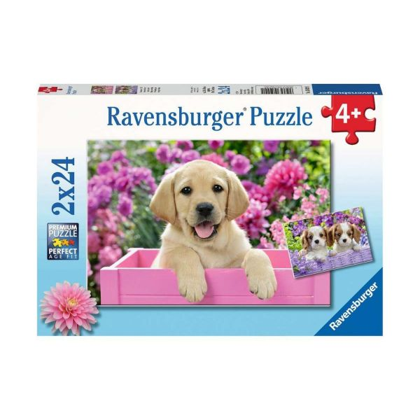 RAVENSBURGER 05029 - Puzzle - Freunde mit Fell, Hundewelpen, 2x24 Teile