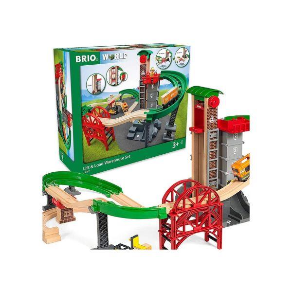 BRIO 33887 - World - Super Bundle Großes Lagerhaus-Set mit Aufzug