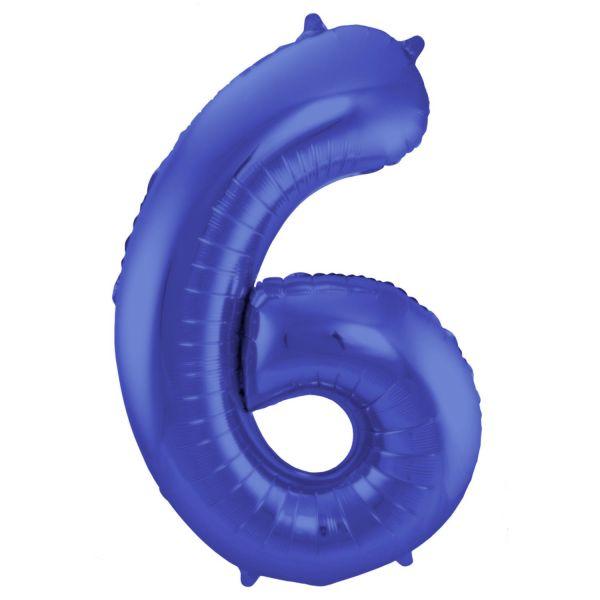 FOLAT 65926 - Folienballon - Zahl 6, Matte Blau, 86 cm