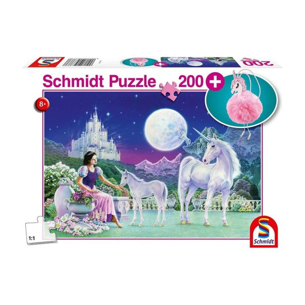 SCHMIDT 56373 - Puzzle - Einhorn, mit Puschel-Anhänger, 200 Teile