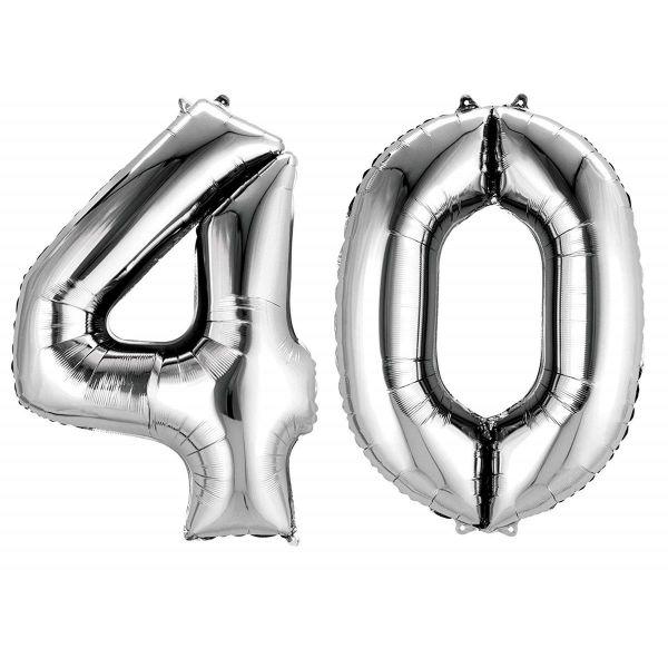 AMSCAN 33872 - Folienballon - Zahl 40, silber, 90cm