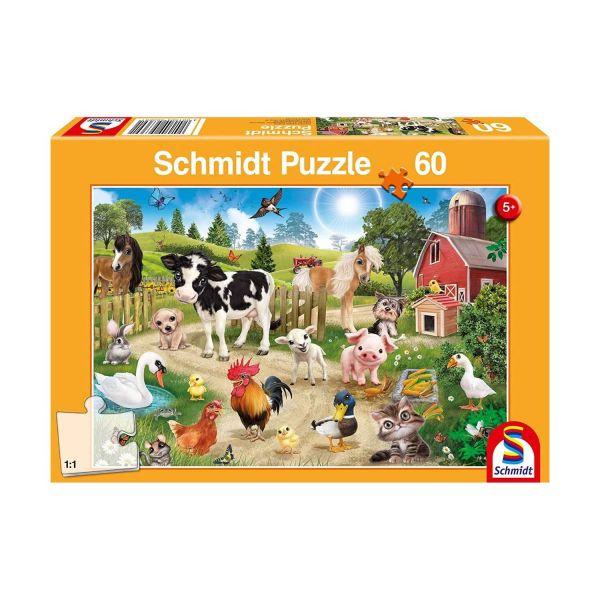 SCHMIDT 56369 - Puzzle - Animal Club, Bauernhoftiere, Kinderpuzzle, 60 Teile