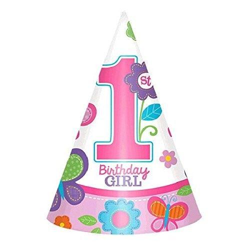 """AMSCAN 250316-Geburtstag & Party- Partyhütchen """"1 Birthday Girl"""", 8 Stk"""