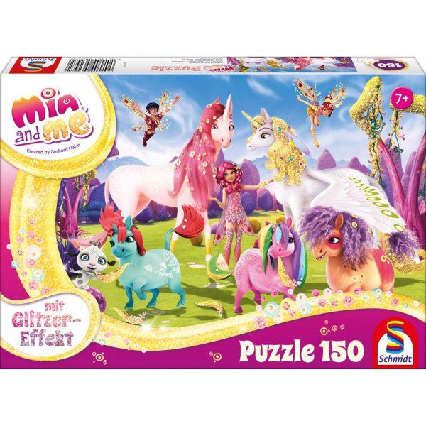 SCHMIDT 56247 - Glitzerpuzzle - Mia & Me, Ankunft der Pony-Einhörner, 150 Teile