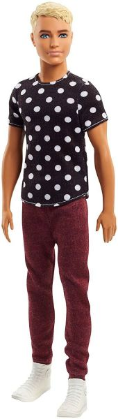 MATTEL FJF72 - Fashionistas - Ken, schwarzes Shirt mit Punkten