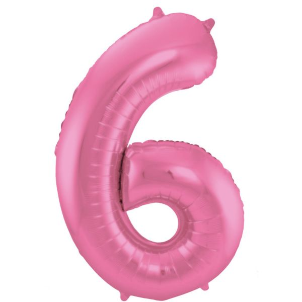 FOLAT 65906 - Folienballon - Zahl 6, Matte Pink, 86 cm