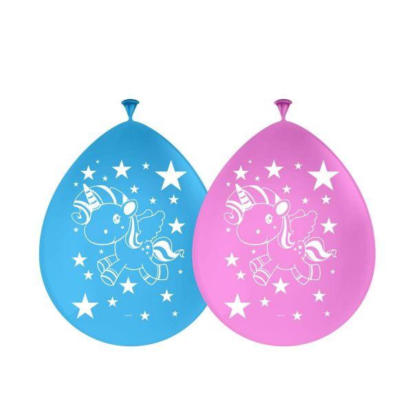 FOLAT 65045 - Geburtstag & Party - Luftballons Einhorn Unicorn rosa blau, 8 Stk