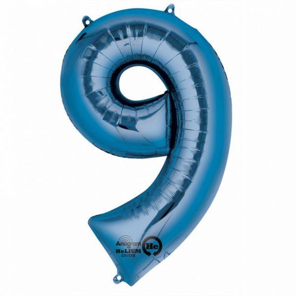 AMSCAN 28297 - Folienballon - Zahl 9, blau, 86 cm