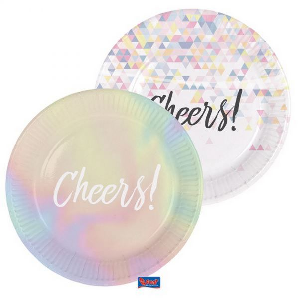 FOLAT 65240 - Geburtstag & Party - Pappteller Cheers Holo, 6Stk, 23cm