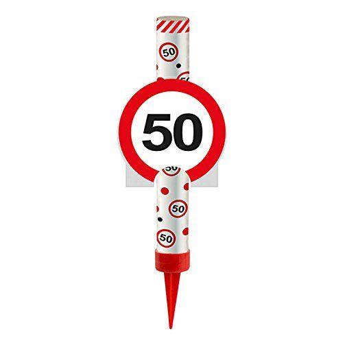 FOLAT 63850 - Geburtstag & Party - Eisfontäne Verkehrsschild 50, 12 cm