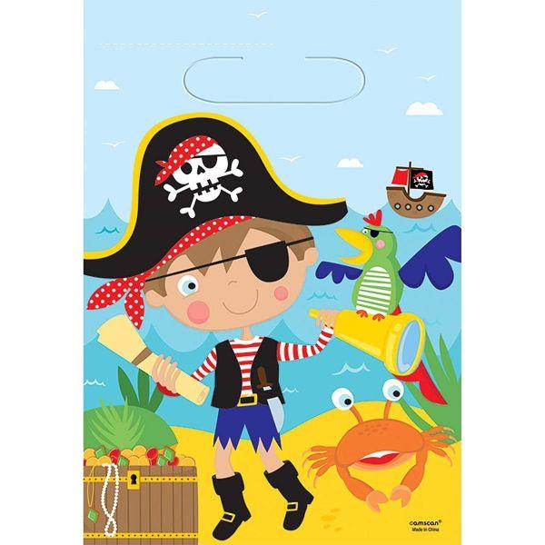 AMSCAN 371622 - Geburtstag & Party - 8 Partytüten Pirat