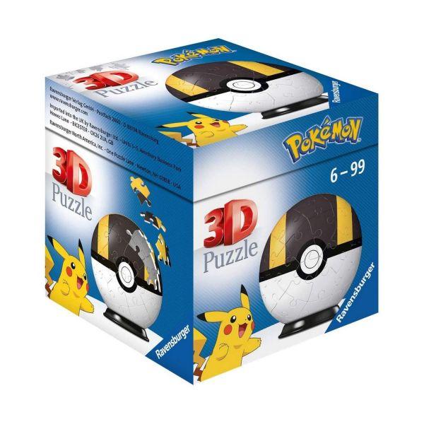 RAVENSBURGER 11266 - Puzzle - Pokémon Pokéballs - Hyperball 3D, 54 Teile