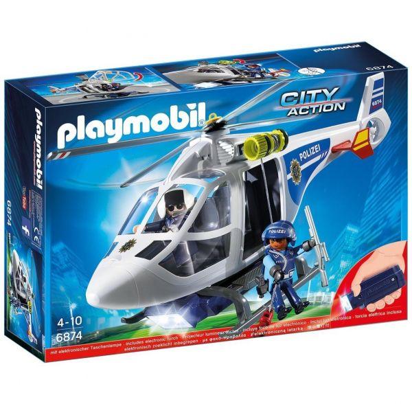 PLAYMOBIL 6874 - City Action Polizei - Polizei-Helikopter mit LED-Suchscheinwerfer
