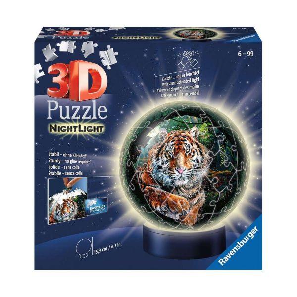 RAVENSBURGER 11248 - 3D Puzzle - Nachtlicht, Raubkatzen, 72 Teile