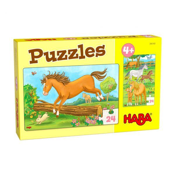HABA 306160 - Puzzle - Pferde, 2x24 Teile