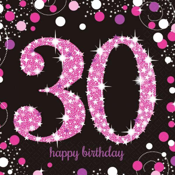AMSCAN 9900595 - Sparkling Celebrations Pink, 30. Geburtstag - Servietten 33x33 cm, 16 Stk.