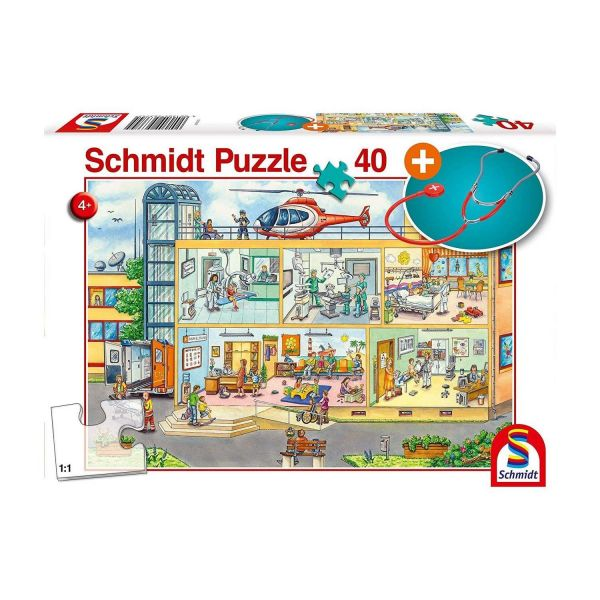 SCHMIDT 56374 - Puzzle - Im Kinderkrankenhaus mit Stethoskop, 40 Teile