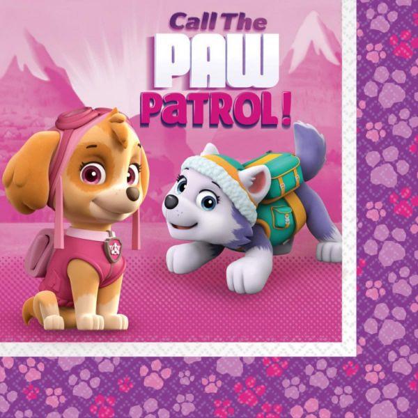 AMSCAN 9902612 - Geburtstag & Party - Servietten Paw Patrol Pink, 20 Stk., 33 cm