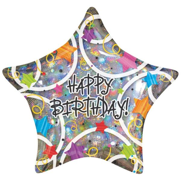 AMSCAN 1350101 - Folienballon Happy Birthday Stars Holographic Balloon 30 cm