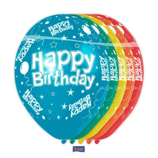 FOLAT 19300 - Geburtstag & Party - Luftballons Happy Birthday bunt, 5 Stk