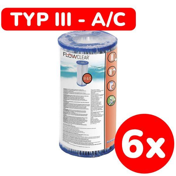 BESTWAY 58012 - Poolzubehör - 6er Set Filterkartuschen (Größe 3), 10,6x20,3cm