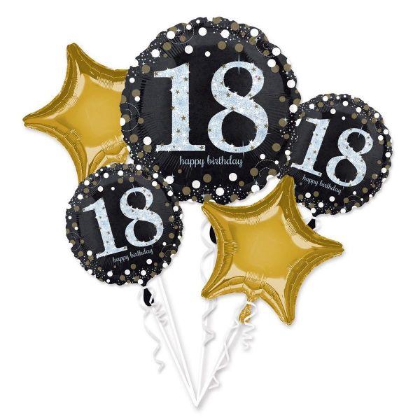 AMSCAN 3551901 - Sparkling Celebrations Gold, 18. Geburtstag - Folienballon-Set
