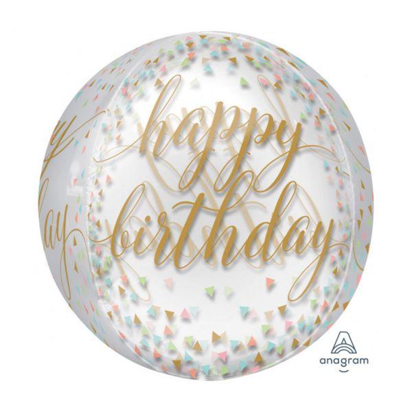 AMSCAN 3718101 - Folienballon Orbz - Happy Birthday, durchsichtig, 38cm