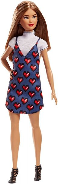 MATTEL FJF46 - Fashionistas - Barbie in Denim-Kleid mit Herz-Print