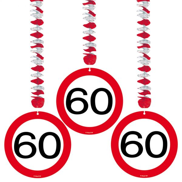 FOLAT 05135 - Geburtstag & Party - 60 Jahre Verkehrsschild Rotorspirale, 3er Set