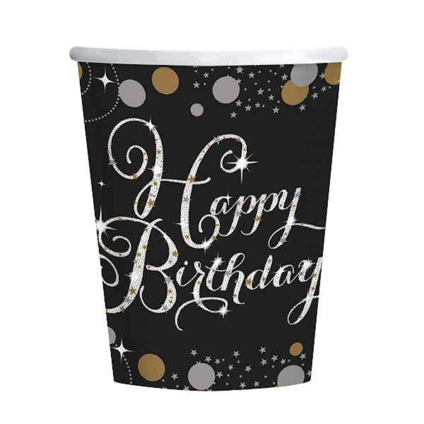AMSCAN 9900550 - Sparkling Celebrations Gold, Happy Birthday - Papp-Becher, 266ml, 8 Stk.