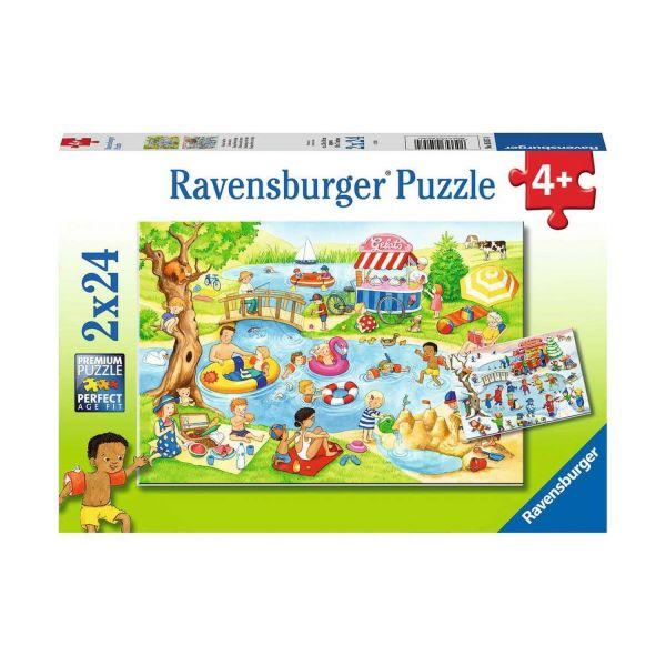 RAVENSBURGER 05057 - Puzzle - Freizeit am See, 2x24 Teile