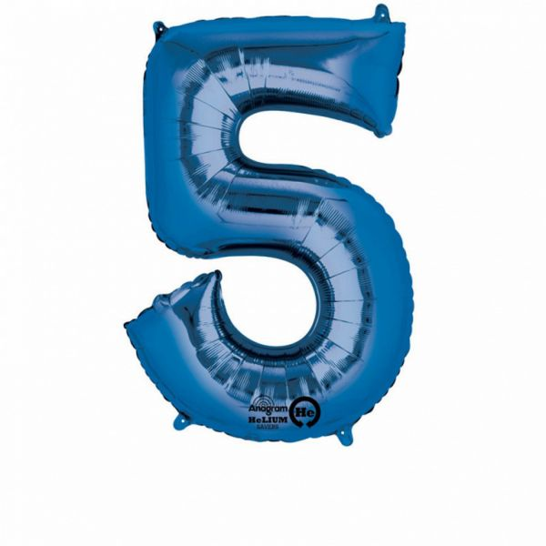 AMSCAN 28285 - Folienballon - Zahl 5, blau, 83 cm