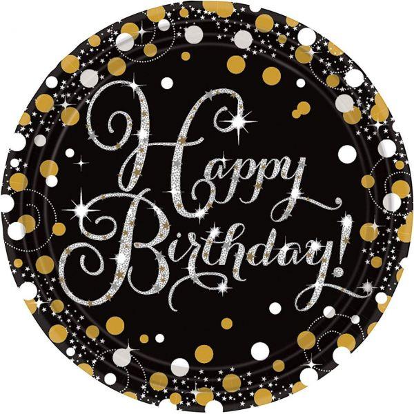 AMSCAN 9900548 - Sparkling Celebrations Gold, Happy Birthday - Papp-Teller 23 cm, 8 Stk.