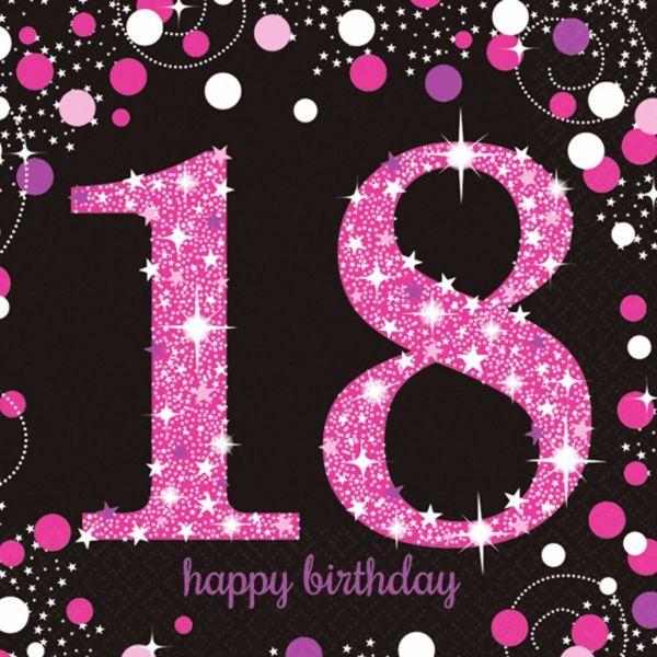 AMSCAN 9900579 - Sparkling Celebrations Pink, 18. Geburtstag - Servietten 33x33 cm, 16 Stk.