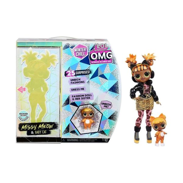 MGA 570271E7C - L.O.L. Surprise O.M.G. - Winter Chill Doll 4 AA, Missy Meow & Baby Cat