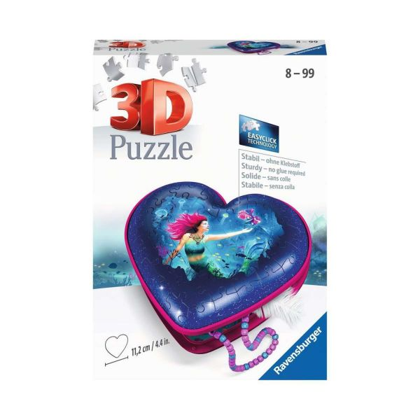 RAVENSBURGER 11249 - 3D Puzzle - Herzschatulle, Bezaubernde Meerjungfrau, 54 Teile