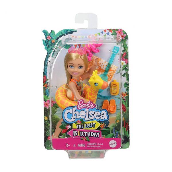 MATTEL GRT81 - Barbie - Chelsea Puppe The Lost Birthday mit Giraffen-Schwimmreifen