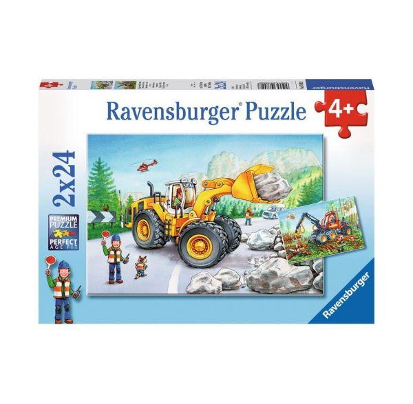 RAVENSBURGER 07802 - Puzzle - Bagger und Waldtraktor, 2x24 Teile