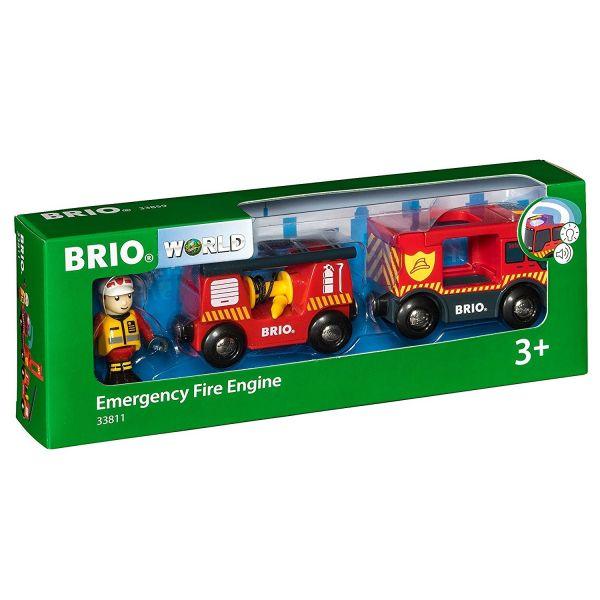 BRIO 33811 - Bahn - Feuerwehr-Leiterfahrzeug mit Licht und Sound