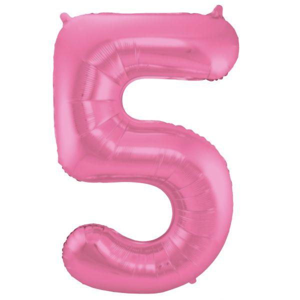 FOLAT 65905 - Folienballon - Zahl 5, Matte Pink, 86 cm
