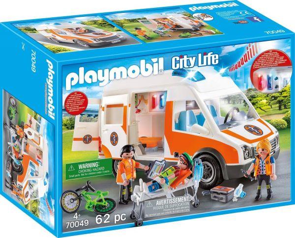 PLAYMOBIL 70049 - City Life Rettung - Rettungswagen mit Licht und Sound