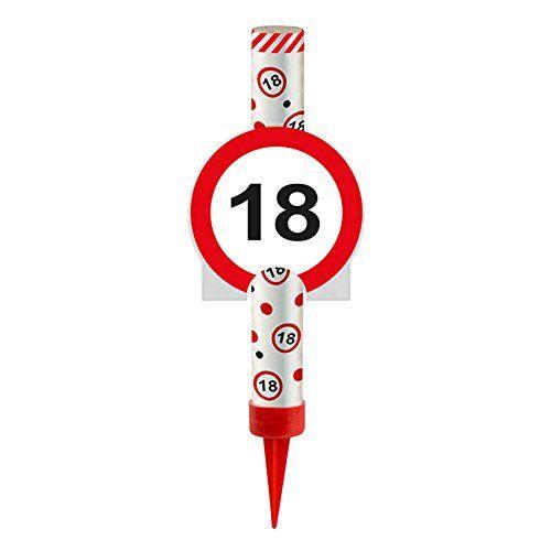 FOLAT 63818 - Geburtstag & Party - Eisfontäne Verkehrsschild 18, 12 cm