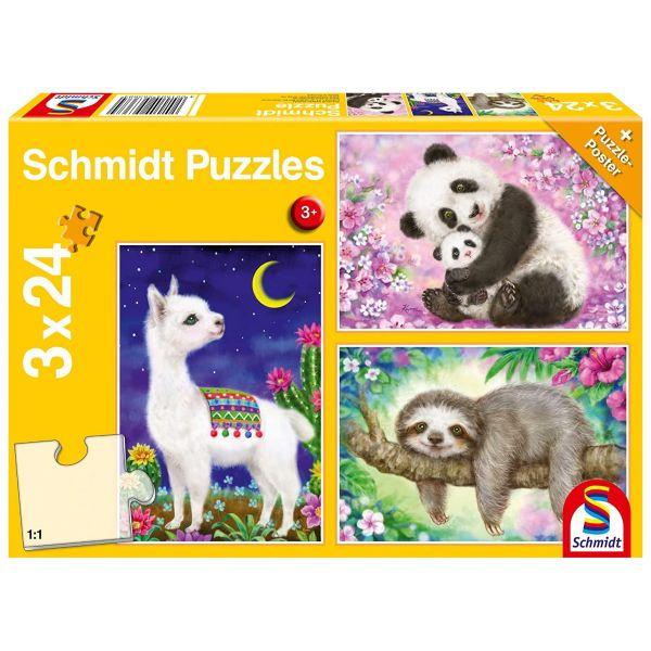 SCHMIDT 56368 - Puzzle - Panda, Lama, Faultier, Kinderpuzzle 3x24 Teile