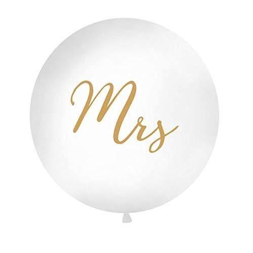 PD OLBON11D-008-019 - XXL Latexballon, Misses, Mrs, weiß-gold, 1m, 1St