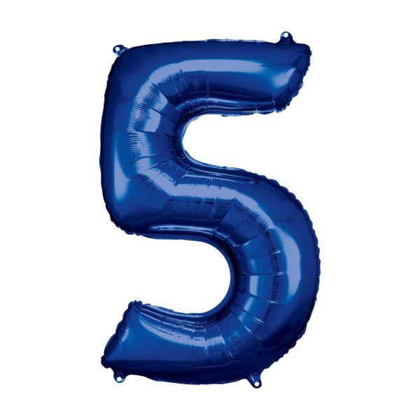 RM 9907284 - Folienballon SuperShape - Zahl 5, blau, 55x83cm