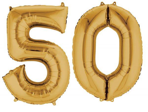 AMSCAN 33873 - Folienballon - Zahl 50, gold, 90cm
